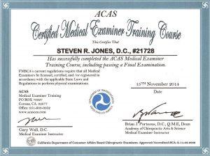 Steven R Jones D.C. - DOT Examiner License Certification
